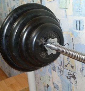 Штанга разборная с обрезиненными дисками 72,5 кг