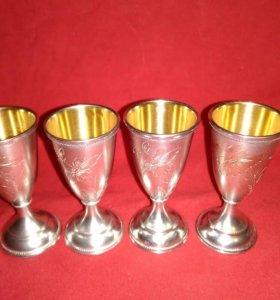Рюмки серебро 875 проба СССР позолота