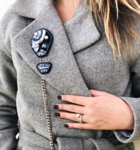 Осеннее пальто-халат ,утеплённое
