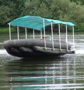 ходовой тент на каркасе тарга с огнями лодки снл-8