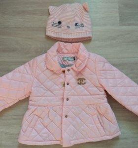 Куртка на синтепоне 80 + 6 размер +шапочка.