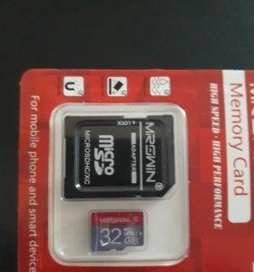 Микро SDкарта памяти 32 Гб с адаптором