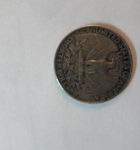 Монета 25 центов 1987 года