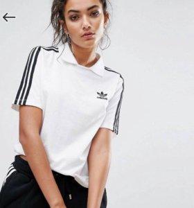 Поло футболка белая adidas оригинал