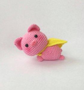 Поросенок вязаная игрушка (амигуруми)