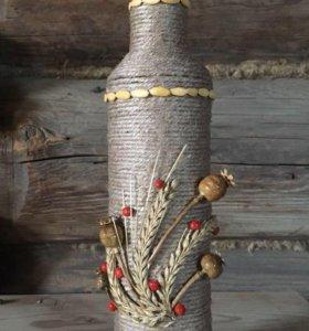 Подарочная декорированная бутылка ручной работы