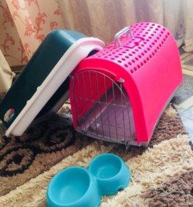 Переноска,лоток,миска все для кошек б/у
