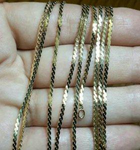 Серебро +золото цепочка 55 см