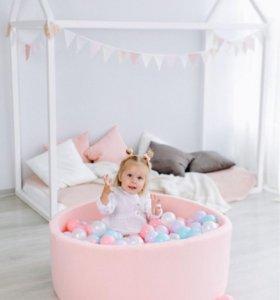 Новый розовый сухой бассейн + 150 шариков