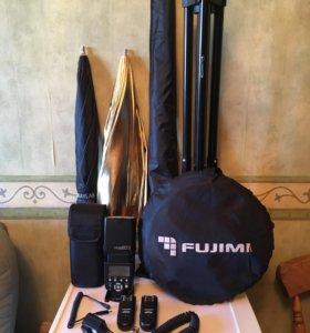Вспышка, стойка, зонт-софтбокс, радиосинхронизатор