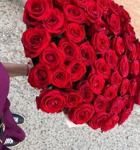 Крупных розы 60-70см, букет роз