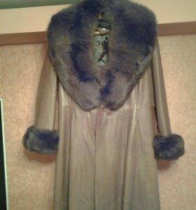 Кожаное пальто песец