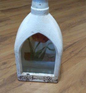 Декоративная бутылка ручной работы- декупаж