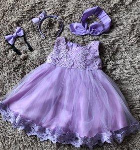 Платье и аксессуары на годик 💜