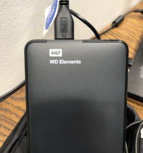 Переносной жёсткий диск, на 1ТВ, WD, usb 3.0.