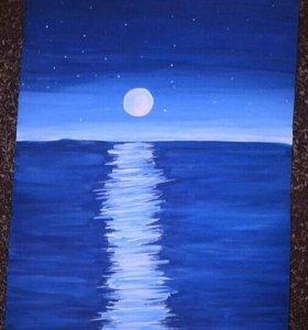 "Продаю картину ""Звёздный вид на море"" 23 см на 30"