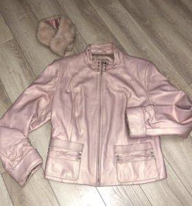 Куртка кожаная женская розовая пудра