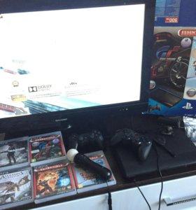 PS3 slim 500 gb, полный комплек