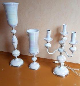 Комплект светильник и две вазы