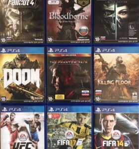 PS4Игры-Dishonored2,Fallout4,UFC,Fifa17,Bloodborne