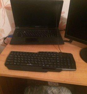 Монитор, ноутбук, клавиатура