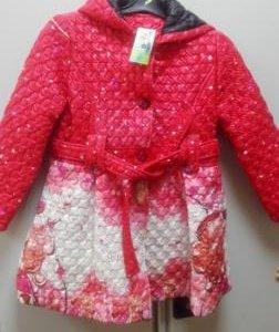 Пальто для девочки, красное, стеганое