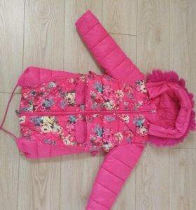 Пальто для девочки зимнее на 6- 8 лет 128см