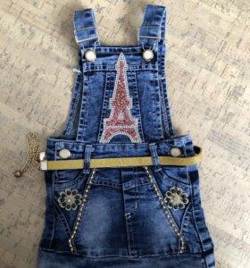 Джинсовая юбка с ремнём на 1 год(новая)