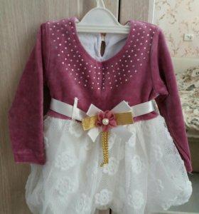 Платье для девочки-новое!Верх тёпленький.Рост 68