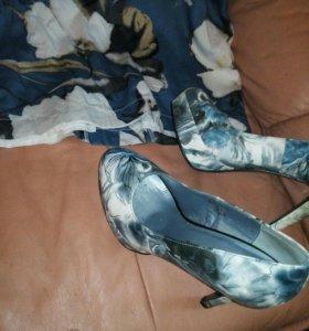 Комплект #небесно #голубое платье и #туфли.НОВОЕ