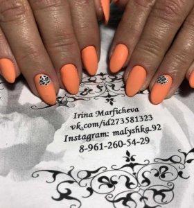 Покрытие ногтей гель-лаком,дизайн ногтей,маникюр