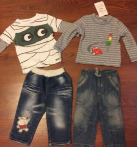 Джинсы и футболки с рукавами