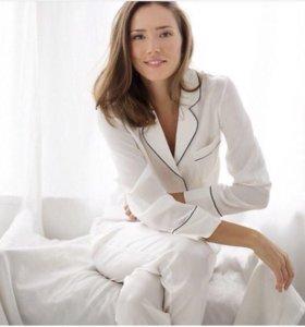 Пижамный костюм из атласа Белый брюки для сна дом