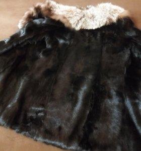 Шуба из стриженного кролика и чорнобурки