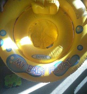 Бассейн, круг для плавания, горшок с крышкой