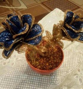 Сине-золотые розы ручной работы