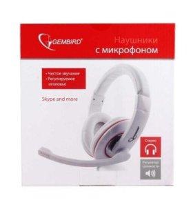 Наушники Gembird MHS-780 с микроф. бел/красн