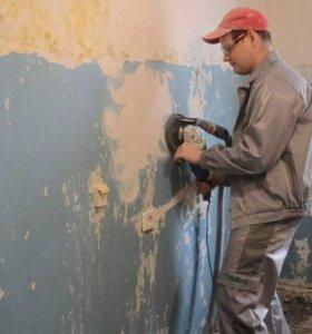 Снимаю масляную краску со стены быстро