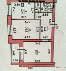 Квартира, 2 комнаты, 63.4 м²