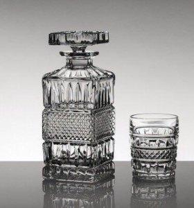 Богемский хрустальный графин и стаканы (6 персон)