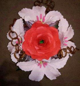 Цветы, роза и лиилии