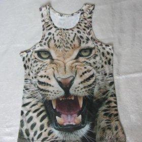 Майка с принтом леопарда 3D, р-р 46-48