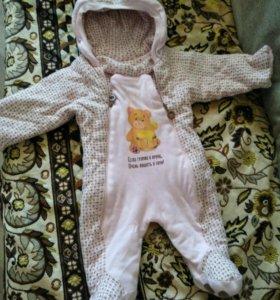 Вещи теплые детские 3-6 месяцев