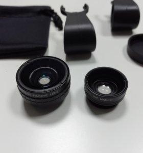 Объектив для смартфона макро/широкий и рыбий глаз