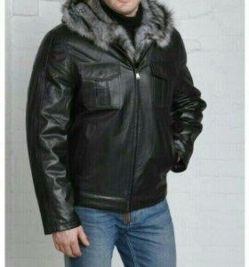 Мужская кожаная куртка из натуральной кожи на мех