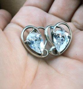 Серьги серебро/фианит