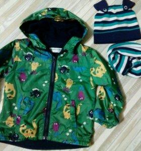 Детская куртка-ветровка  на флисе