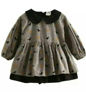 Серое детское платье разм 128-140