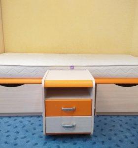 Односпальная кровать + прикроватная тумба