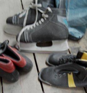 коньки мужские, ботинки лыжные (новые)